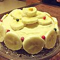 Biscuit de savoie à la banane et chocolat blanc