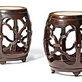 A pair of marble-inset hongmu stools, qing dynasty, 19th century