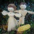 Poupées de maïs réalisées avec les bractées