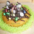 Gâteau nid de Pâques Baba au Rhum décoré