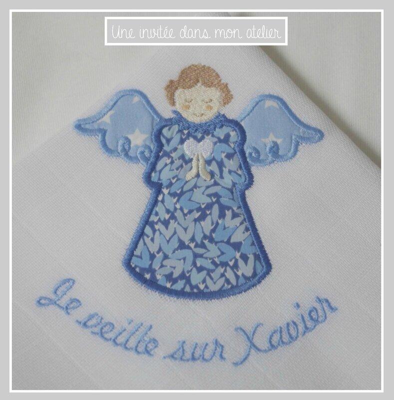 lange personnalisé-ange gardien-Liberty wild perrenial blue
