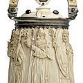 A rare carved ivory situla and cover, german, 19th century