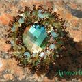 Crystal burst aquamarine antique brass