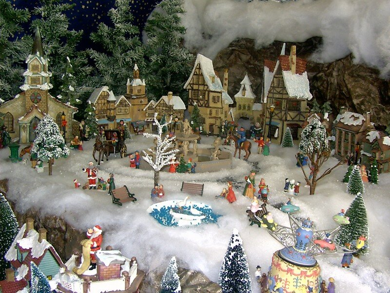 La place du village photo de village de no l 2004 noel miniature - Village de noel miniature ...