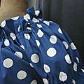 Robe ALBANE en coton bleu navy à pastilles blanches (1)