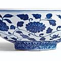 A fine and rare blue and white fruit bowl, mark and period of xuande