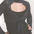 Vêtements femme au crochet #1 : boléro bleu à col