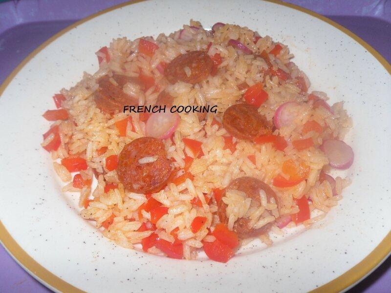 poêlée de riz thaï au chorizo, aux poivrons et au radis 2
