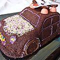 Gateau 3d coeur coulant de chocolat en forme de voiture