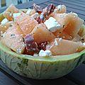 Salade de melon & feta au chorizo