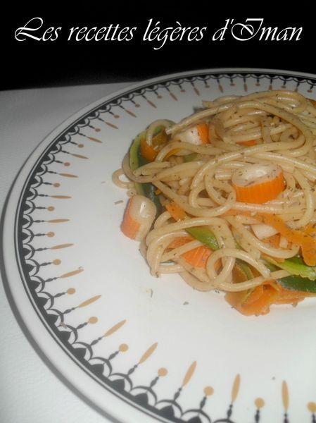 Spaghetti légumes et surimi 2