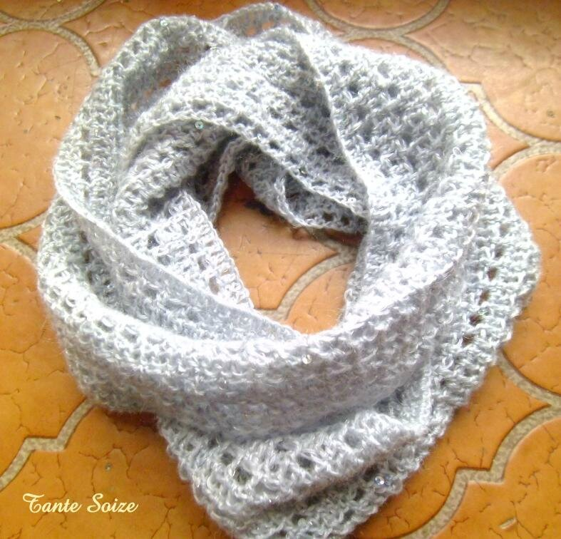 Snood crochet paillettes 02