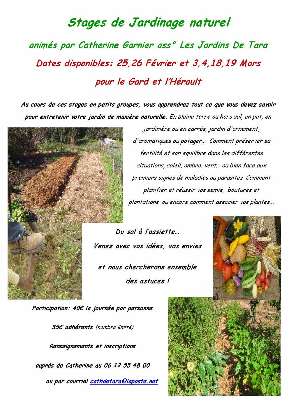 Réservez votre place pour un prochain stage de jardinage naturel avec Les Jardins De Tara !