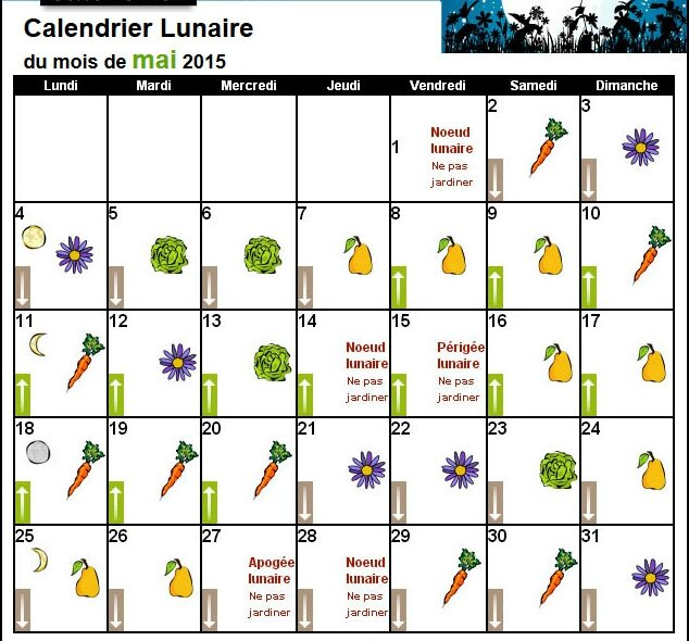 Calendrier lunaire mai 2015 le jardin des petits lutins - Graines et jardin calendrier lunaire ...