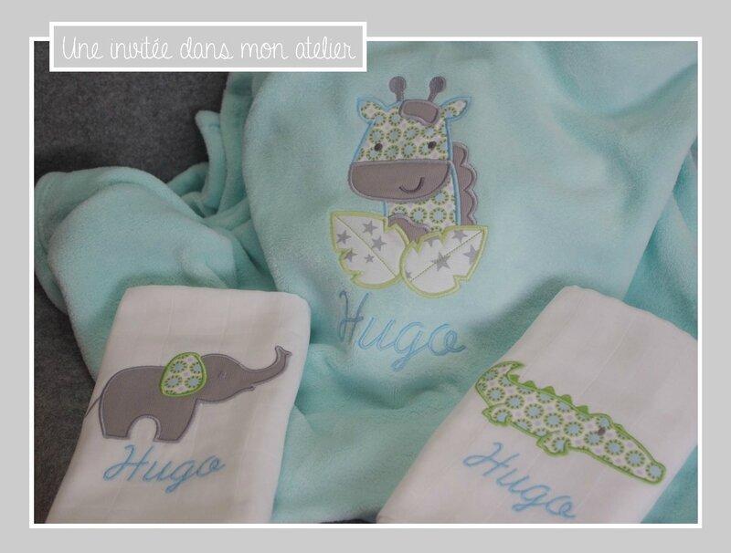 coffret cadeau de naissance-thème savane-couverture et langes