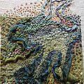 Estran à Marée basse - broderie sur soie artificielle et lin