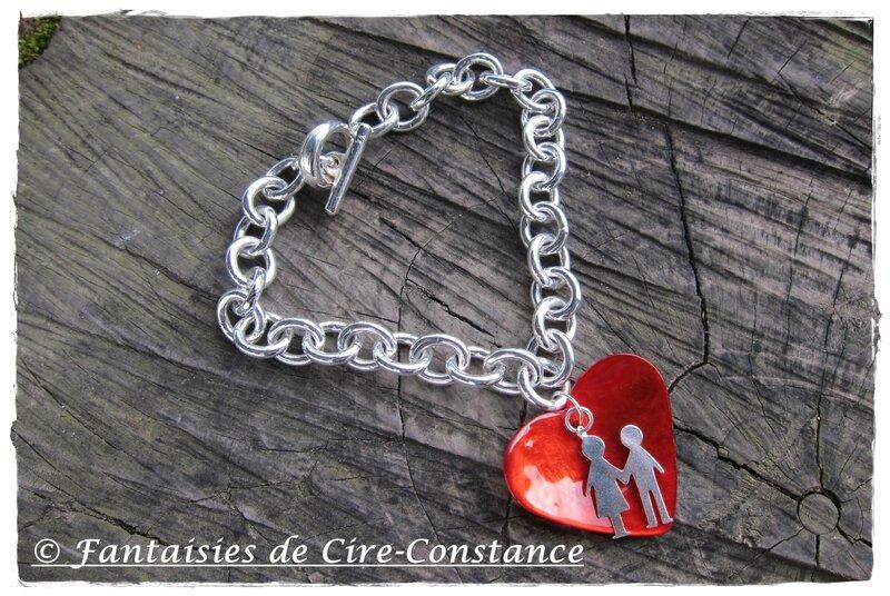 bracelet argent St Valentin couple coeur rouge orangé