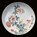 Dish with chrysanthemums and peonies. qing dynasty, yongzheng period, 1720-1730