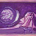Papiers paysage lunaire gouache Ghislaine Letourneur 1979 - Essai papier froissé harmonie mauve