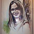Portrait de Precyllia - Sourire d'une amie - Ghislaine Letourneur Peinture gouache - Smile of a young woman