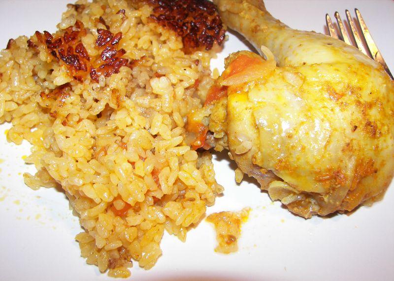 Poulet et riz au four