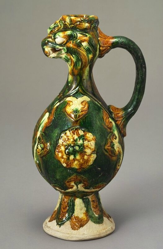 Ewer with Phoenix Head and Applied Medallions, Three-colour Glazes, Tang dynasty (618-907), H 28