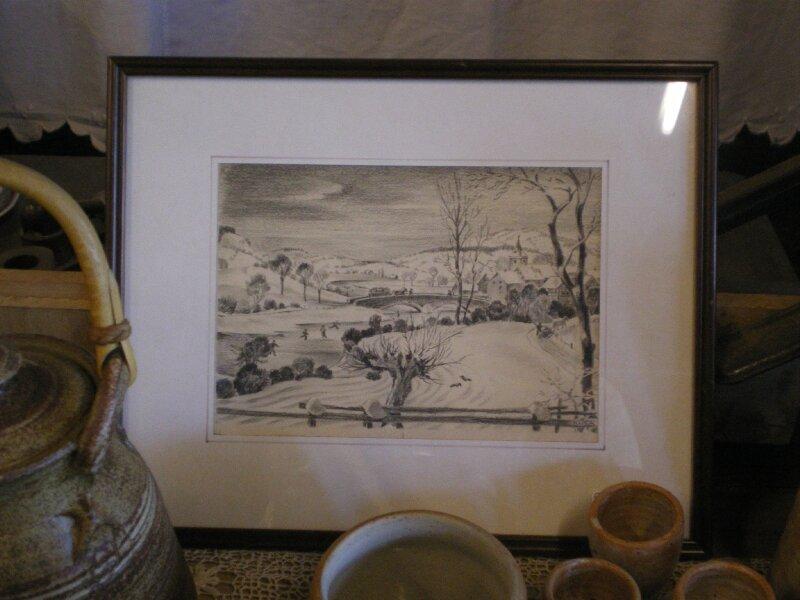 cadre dessin au fusain paysage eneig photo de cadres et miroirs l 39 atelier de louis. Black Bedroom Furniture Sets. Home Design Ideas