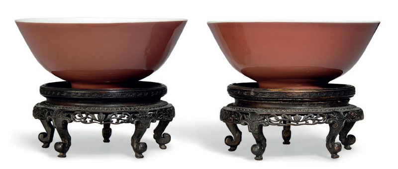 A pair of copper red-glazed bowls, Qianlong six-character seal marks in underglaze blue and of the period (1736-1795)