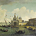 Circle of gaetano verturali (lucca 1701-1783), a capriccio of the entrance to the grand canal, venice