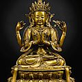 A rare and finely cast gilt-bronze figure of shadakshari avalokiteshvara, qing dynasty, kangxi period (1662-1722)