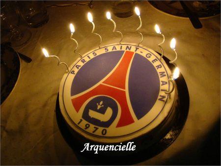 Gâteau PSG bougies