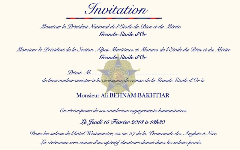 Invitation cérémonie M