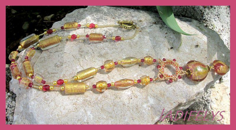642 sautoir perles Murano dorée et roses