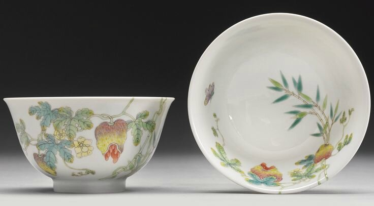 A fine pair of famille-rose 'Balsam pear' bowls, Jiaqing seal marks and period