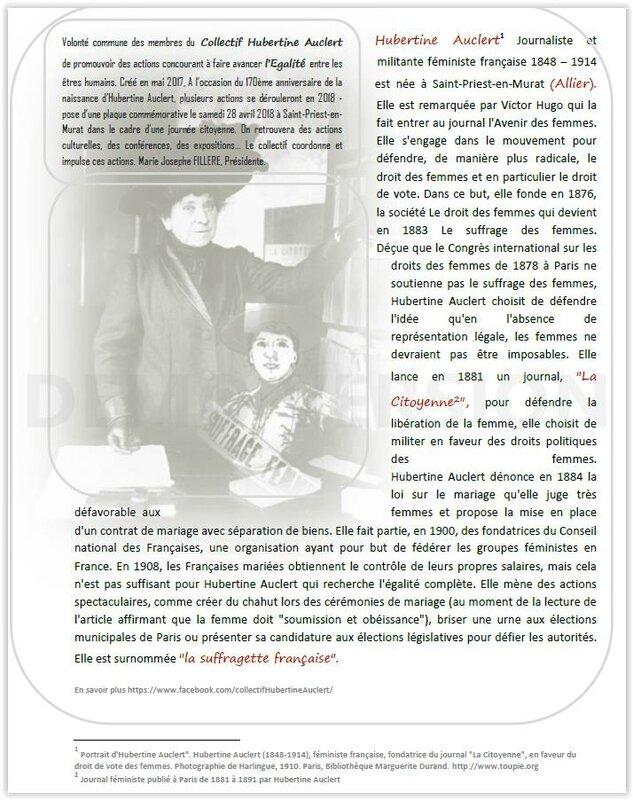 Hubertine Auclert à suivre dans l'Allier