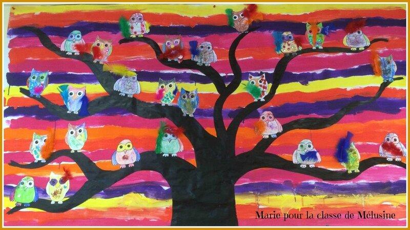 arbre chouettes Marie B chez Mélusine