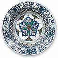Dish with central flower, turkey, iznik, ca. 1575 –1580