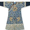 A blue ground kesi dragon robe, mangpao, qianlong period (1736-1795)