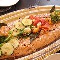 Saumon froid cuit au court bouillon