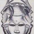 Masque yauré, côte d'ivoire (huile sur toile 92x65)