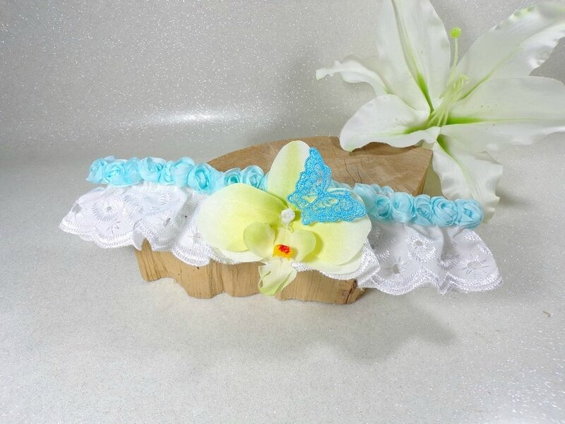 Jarretière de mariée dentelle blanc turquoise orchidée