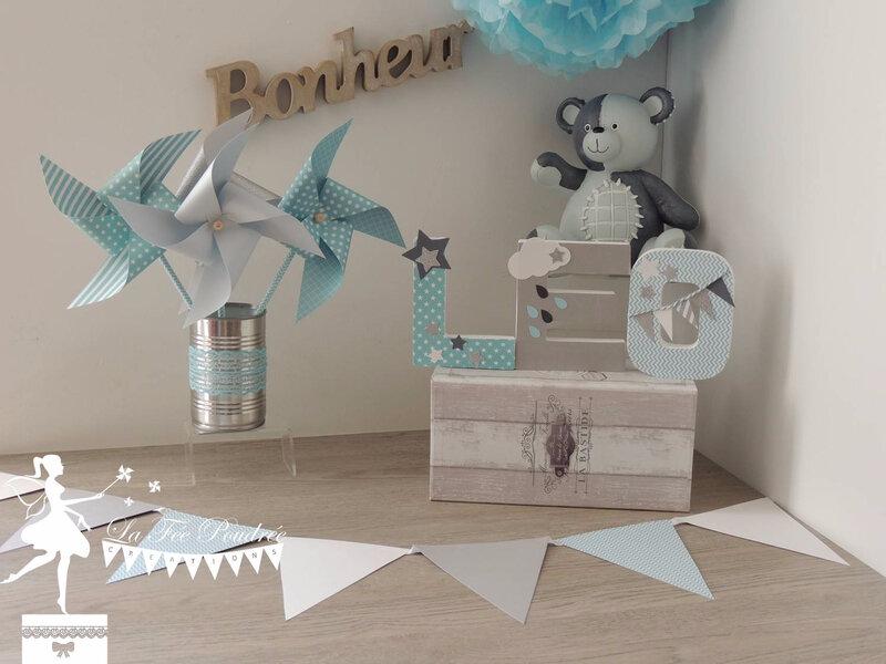 moulin a vent tournant girouette bleu pastel ciel lettre decoree fanion deco chambre enfant bapteme etoile nuage