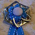 broche ruban coton turquoise et liseret blanc