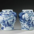 A pair of blue and white 'Women Warriors' jars, Qing dynasty, Kangxi period