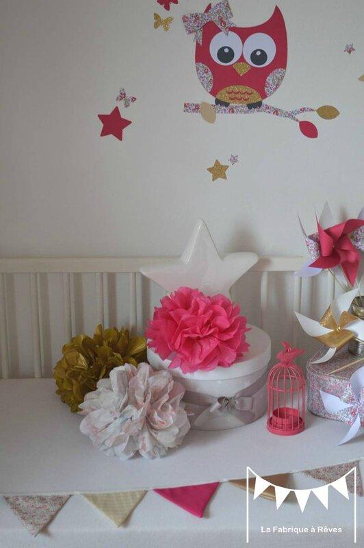 pompon papier soie liberty éloise rose fuchsia doré beige - décoration chambre enfant bébé fille liberty éloise rose fuchsia doré beige mariage baptême anniversaire 2