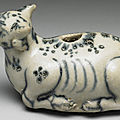 Vietnamese cow-shaped water-dropper in underglaze blue. late 15th-early 16th centuries.