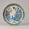 Polychrome chinoiserie large dish. Delft, circa 1740