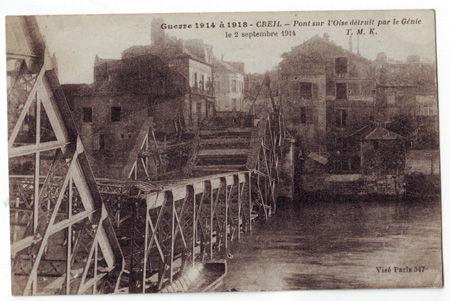 60 - CREIL - Pont sur l'Oise détruit le 2 septembre 1914