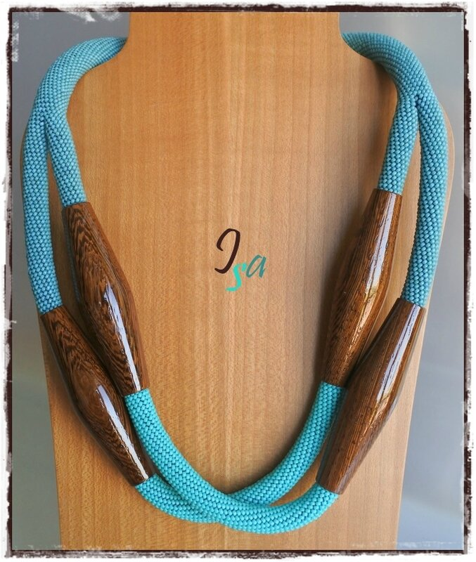 Collier MS & PB 'Bulbes 2' wenge & bleu petrole