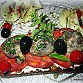 Baguette apéritive au chorizo et aux champignons